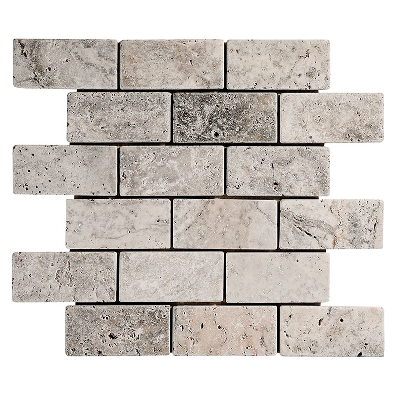 Silver Travertine Tumbled Mosaics